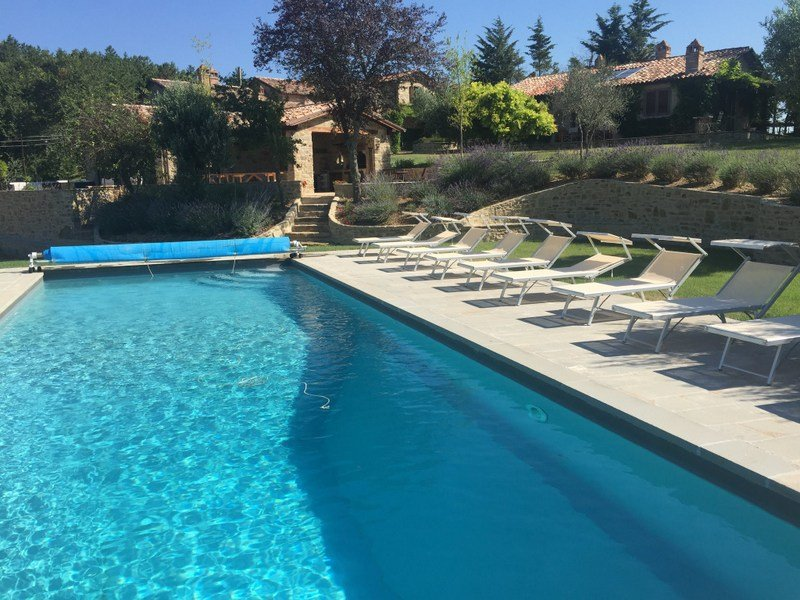 Swimming pool just below pool house which is situated between the Villa and Villetta