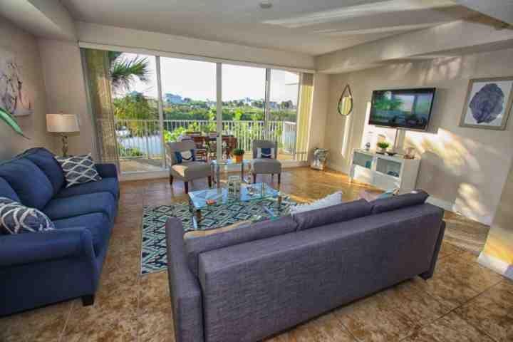 Living Area w/ Sofa Sleeper, Balcony View  | Flatscreen TV