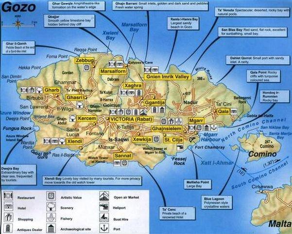 gozo mapa - destaques