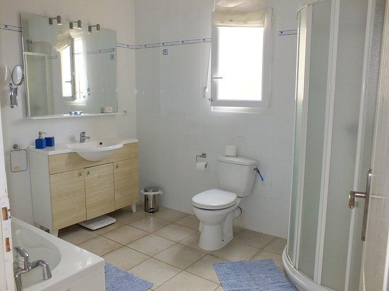 Ground floor bathroom, with bath and shower
