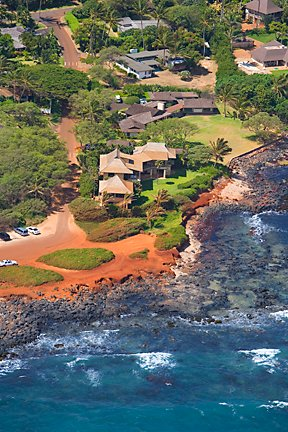 Arial view of property.  Right on the beach!