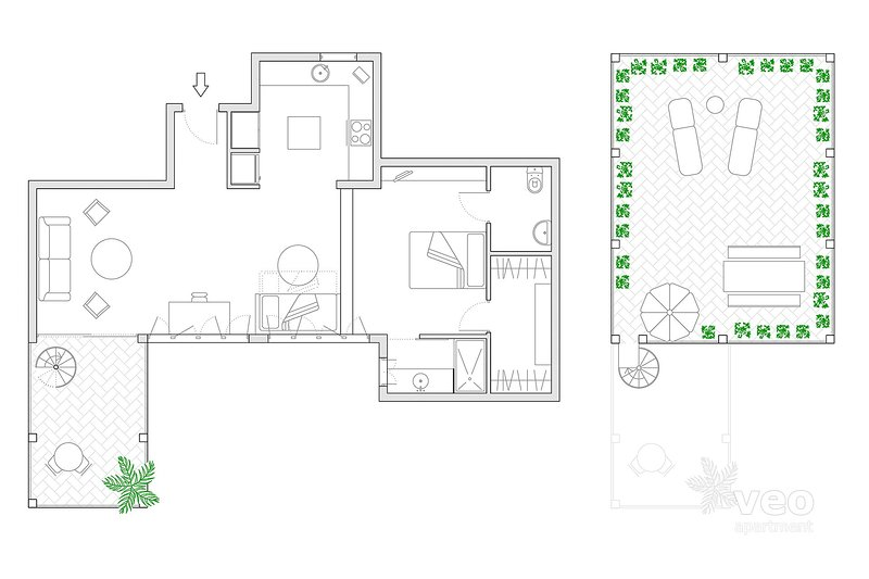 90m² + terrace | third floor | without elevator