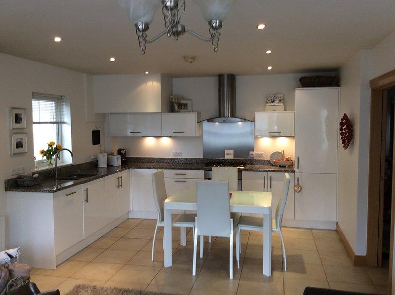 Moderne goed uitgeruste keuken met eenmalig tafel.
