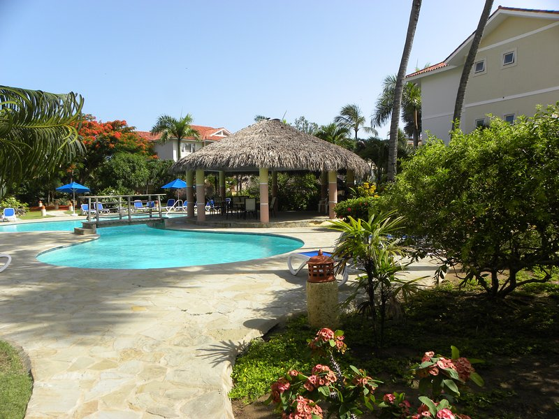 Another view of the stunning pool area with lush gardens!