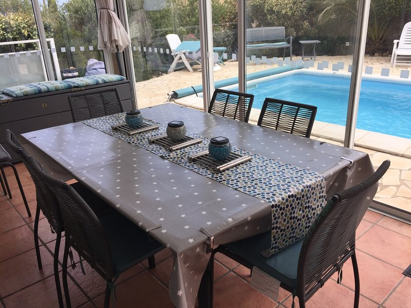 Covered dining area on terrace