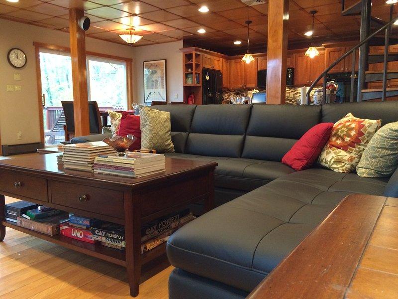 New sofá de couro. Tratá-la gentilmente, por favor! :-)
