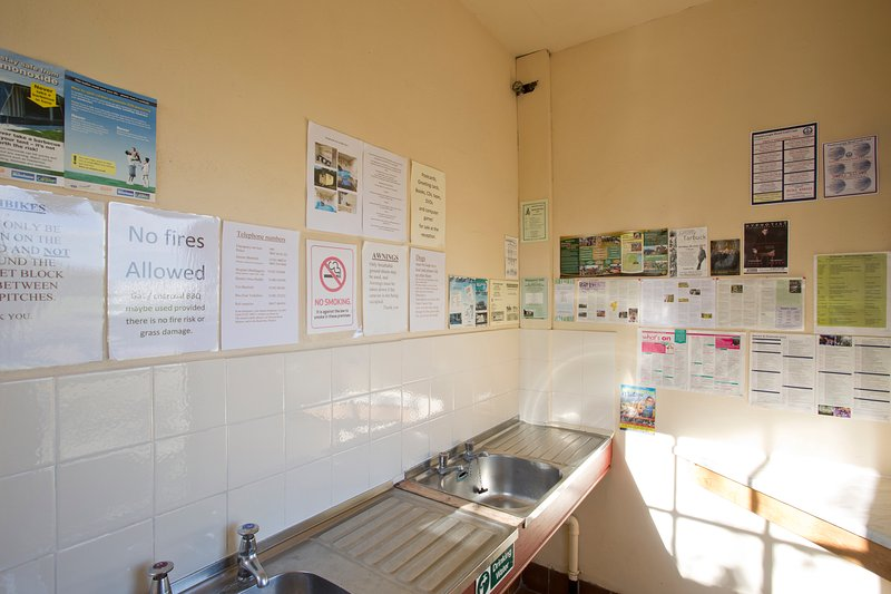 Legumes e área de lavagem de prato.