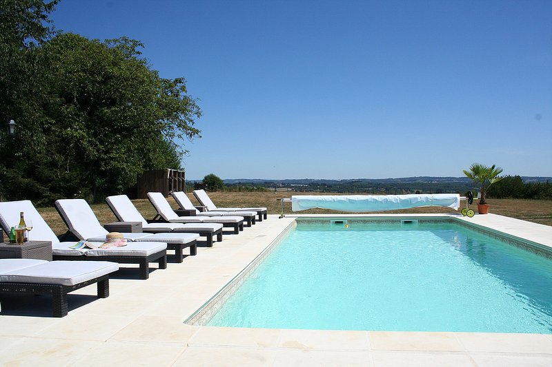Pool and south facing sun terrace with far reaching panoramic views