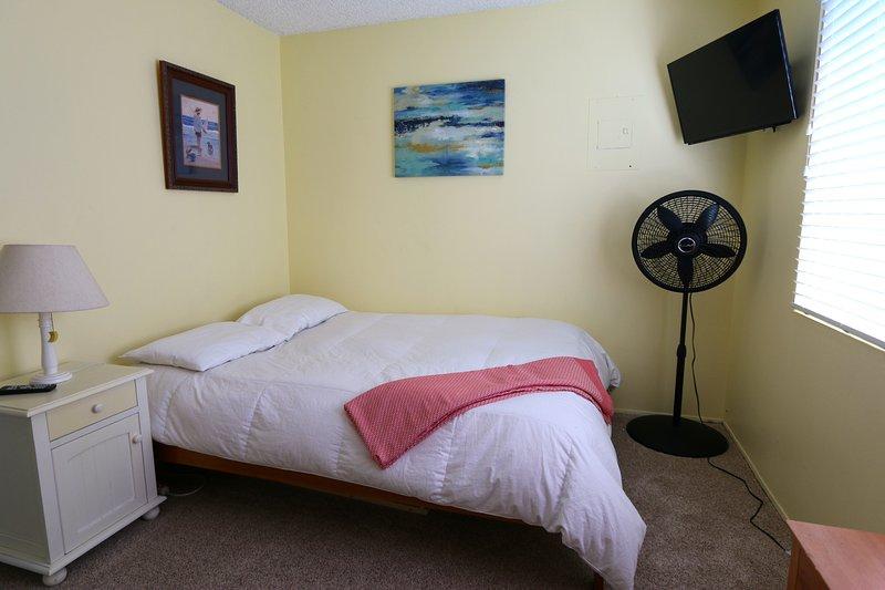 Bedroom 1 - mounted TV, ceiling fan, portable fan