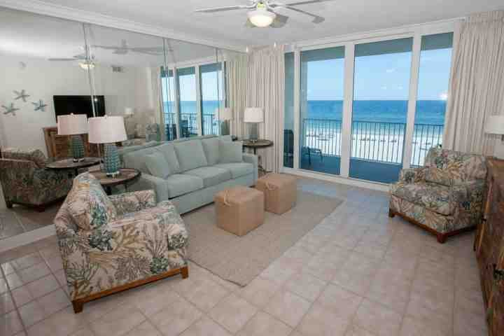 Tiled living with 4th floor Gulf-front views