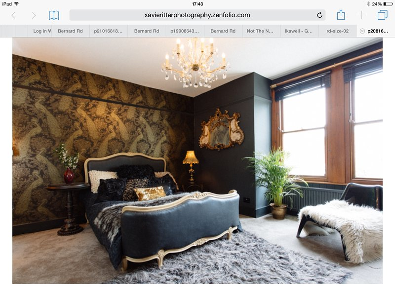 The black and gold bedroom with french corbeille bed