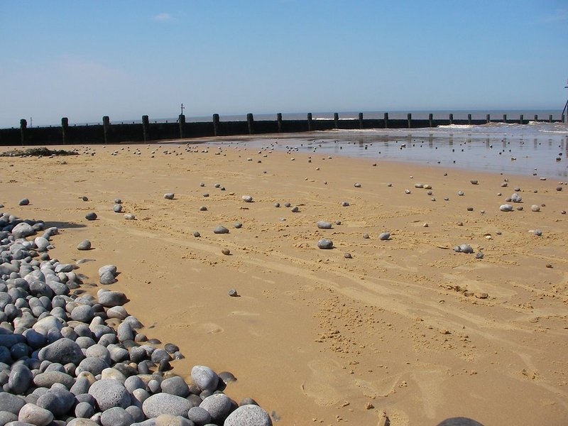 bella spiaggia di Sheringham, a pochi passi