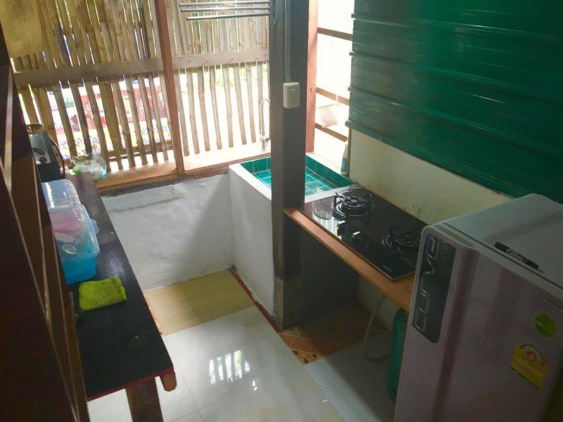 Cocina equipada con 2 quemadores de vitrocerámica, nevera, microondas, tostadora