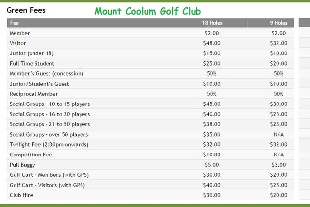 The adjacent golf course fee's (as at as 08/03/16)