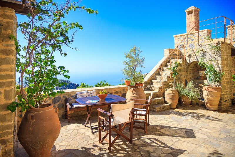 Courtyard with sea views
