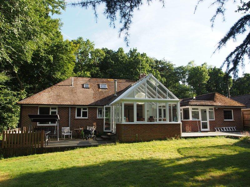 Retro della casa con giardino d'inverno