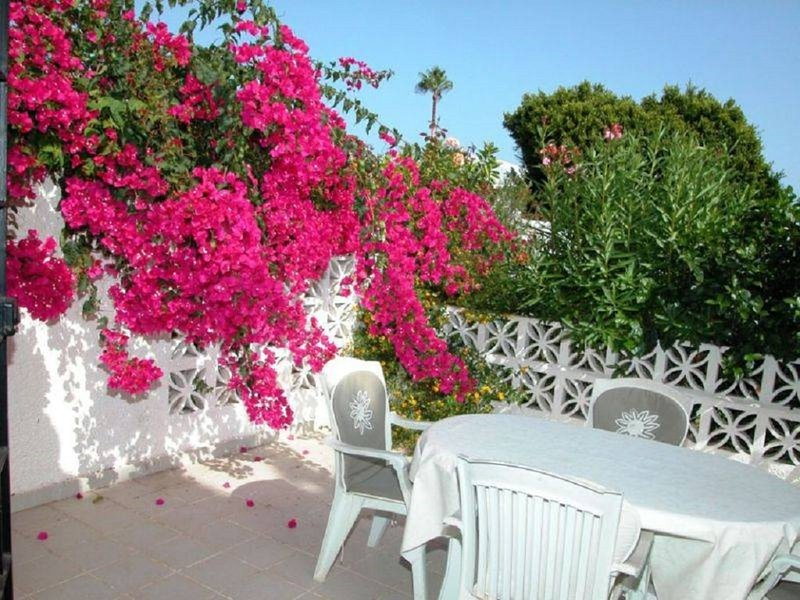 Pretty, sunny terrace for relaxing and dining, leading to the gardens, pools and restaurant