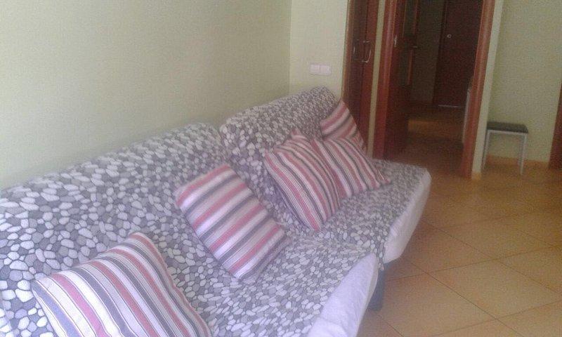 Salon avec deux canapés convertibles en lits doubles