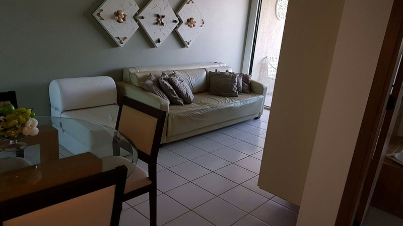 living room, table with 4 chairs (living room has AC)