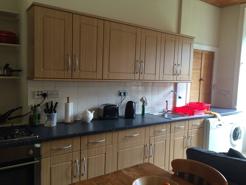 Extremely well equipped kitchen. There is also a large fridge freezer and a tumble drier
