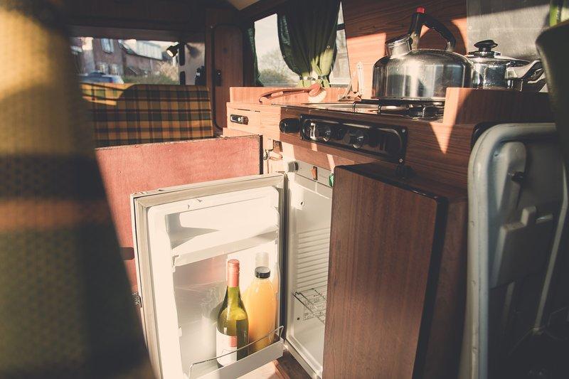 VW T2 Berlin with modern kitchen refrigerator Compression Refrigerator Volkswagen bus