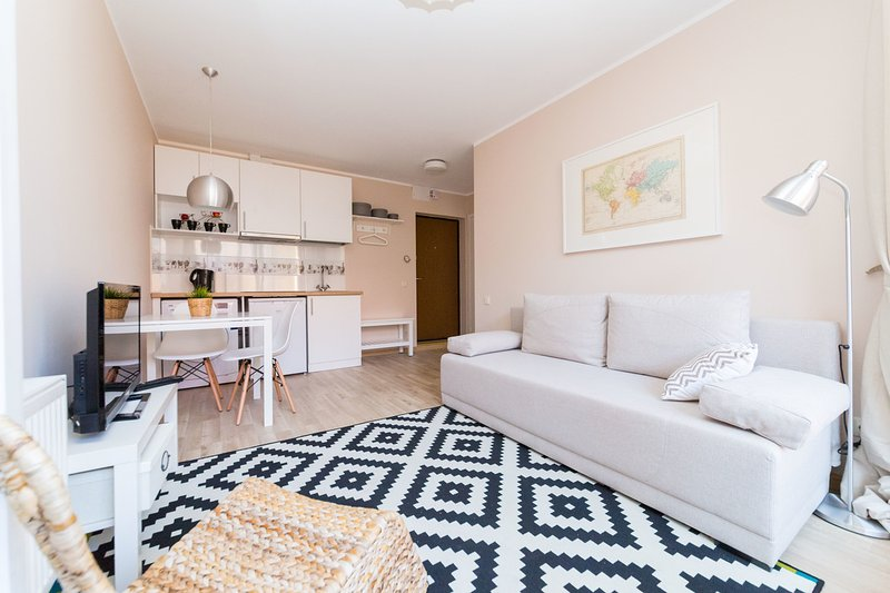 Información general del salón, doble sofá cama plegable, TV, microondas, lavadora, frigorífico, placa de inducción, fregadero