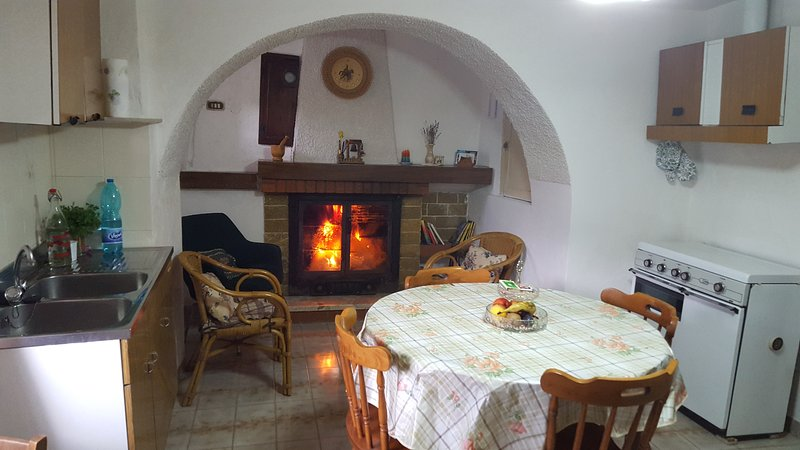 Kitchen with fireplace, extendable table, seating up to 10 people.