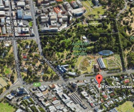 Google 3D toont hoe dicht 8 Osborne is om de CBD East End