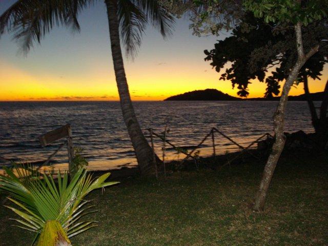 Pôr do sol sobre o Oceano Índico visto a partir do terraço