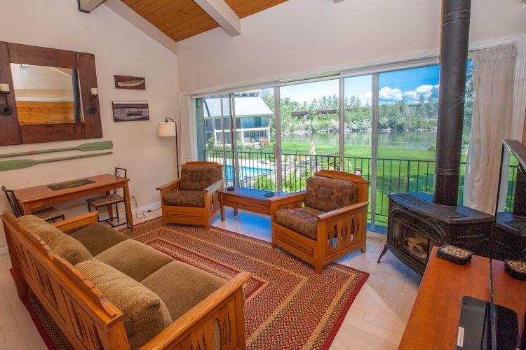 Living room facing the lake and pool