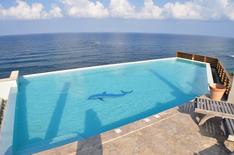 piscina de borda infinita no terraço