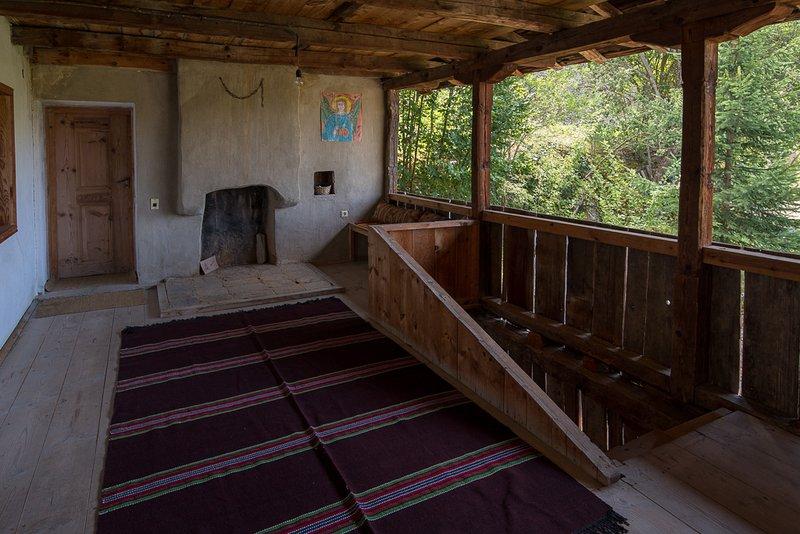 Second floor, wooden terrace.