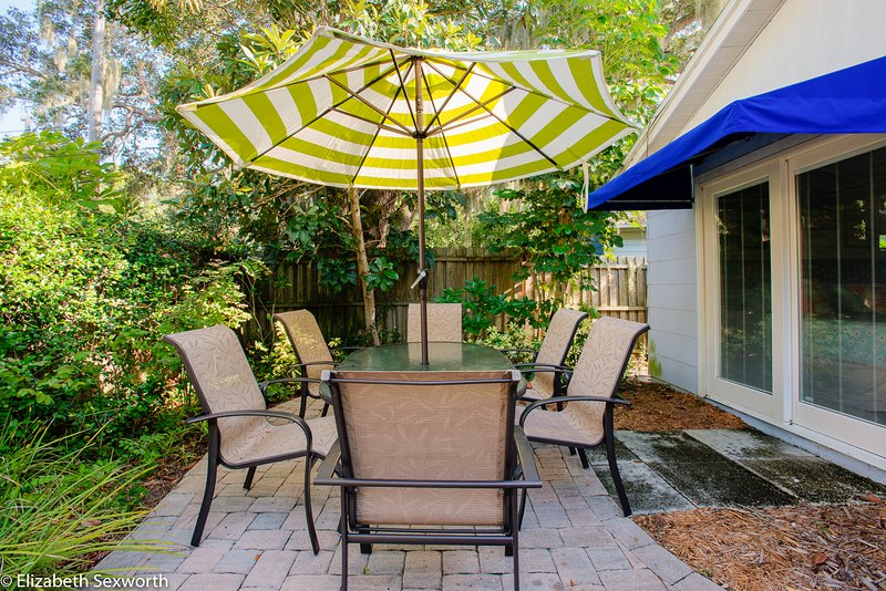 Patio with Florida plants, table, umbrella and trees.  There is also a covered porch.