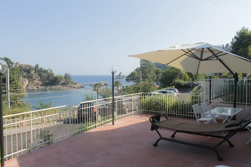 The View overlooking the wonderful IsolaBella and our terrace