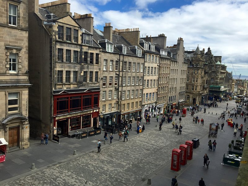 The view from the apartment down the Royal Mile