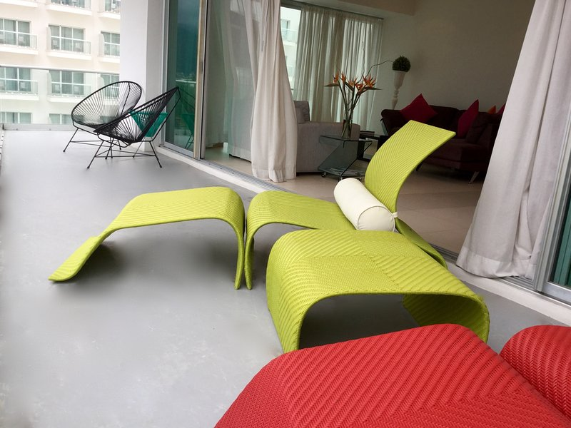 Lounge chairs at the balcony-deck