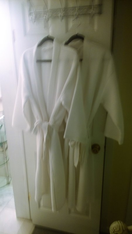 Soft waffle wave bathrobes for all adults to use. Save room in your suitcases