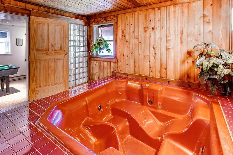 Jacuzzi, bain, intérieur, Chambre, Meubles