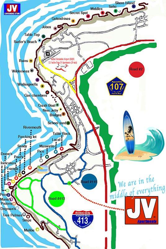 Estamos en el medio de todas las mejores playas de surf y Ares en la costa oeste.