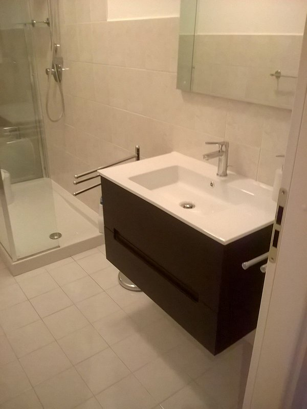 Main full bathroom. Recently renovated American designer full bathroom July 2016. Designer