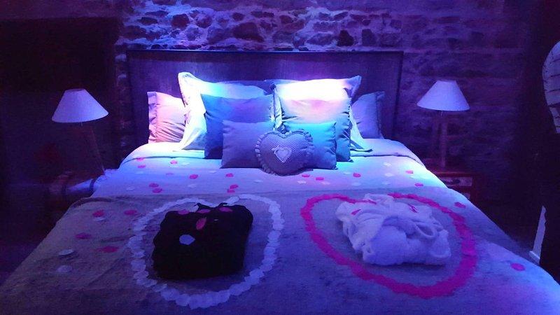 Suite de charme avec jacuzzi et sauna privatif, holiday rental in Joux