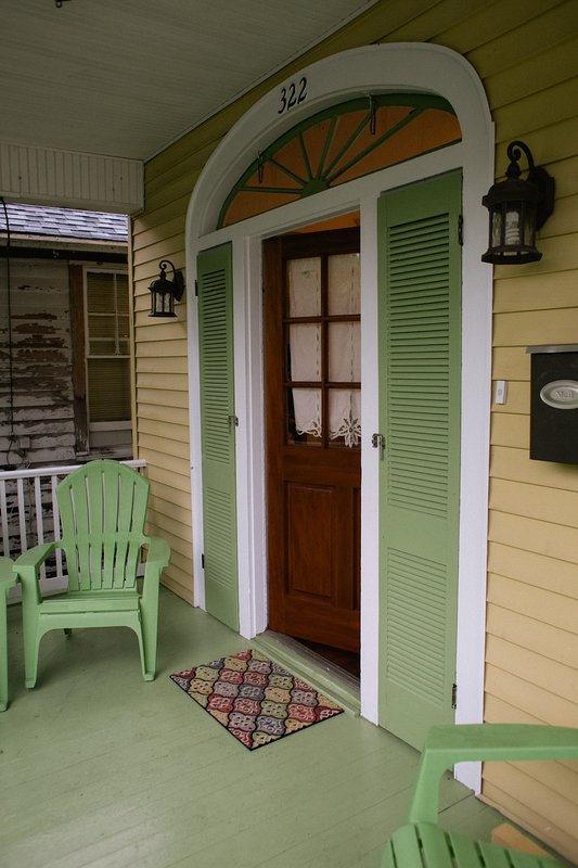 The front porch area for relaxing and sitting on a warm New Orleans evening!