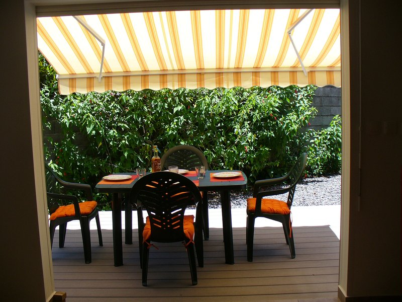 terraza en el jardín
