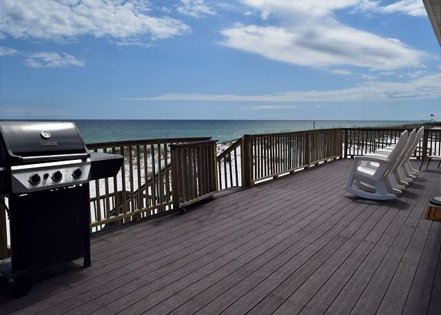 Enjoy the view from the gulf front deck.