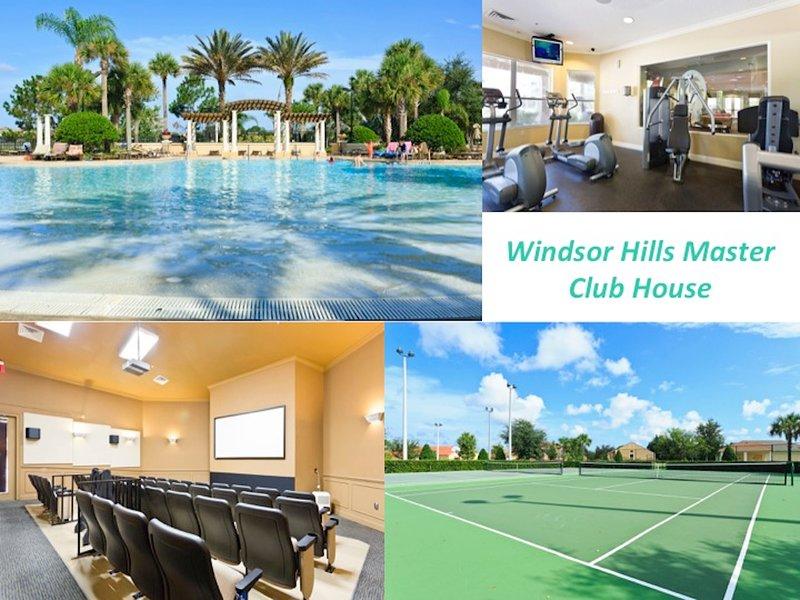 Luxe Windsor Hills Club, avec piscine immense piscine avec toboggans, tennis, gymnase, théâtre, etc.