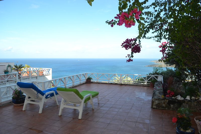 The patio, with ocean view