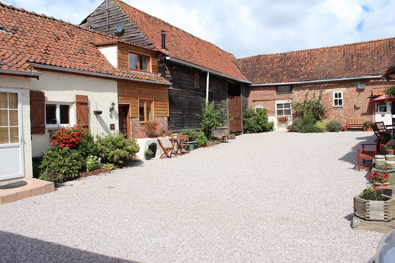 Traditional French courtyard setting