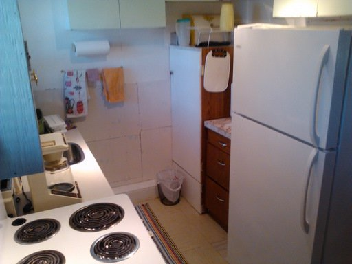 The kitchen area showing the large fridge/freezer and stove. Microwave is beside the fridge.