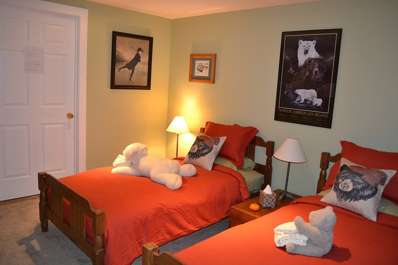 Bunk beds(or will be) with twin bed in what we call the Bear's Den.