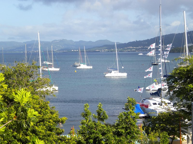 View from the residence on the seaside of the village of Sainte-Anne